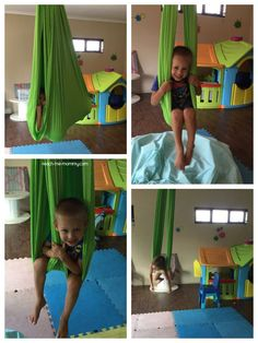 This indoor swing and crash pad is an easy DIY project that your kids will love! Indoor Gym, Indoor Swing, Indoor Jungle Gym, Sensory Swing, Diy Swing, Hammock Swing, Kids Indoor Playground, Playground Ideas, Kids Gym