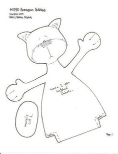 Cat Template, Owl Applique, Fabric Animals, Cat Quilt, Monster Dolls, Animal Quilts, Cat Doll, Felt Patterns, Sewing Toys