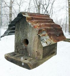 Hand made barn wood bird house. Weathered oak by DeadWoodRising, $60.00