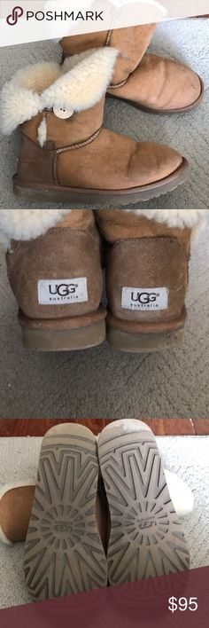 Uggs! Super comfy and cute ugg bailey boot! These boots have endured some rough Cleveland weather! I have taken great care of these babies but it's time to move on to a different pair. There is a slight hole in the toe of the left boot, price reflects. UGG Shoes Winter & Rain Boots