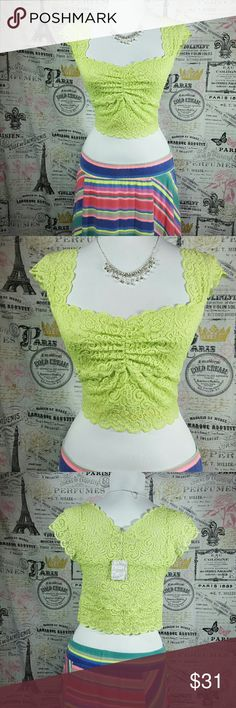 🌺SALE🌺Intimately Free People Lace Crop Top NWT Intimately Free People Lace Crop Top in Lime. Gorgeous scallop edge and cap sleeves. Free People Tops