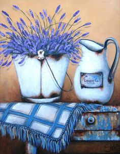 Art Painting by Stella Bruwer includes Lavender on table, this example of Still Life has inspired this exceptionally talented artist. View other Paintings by Stella Bruwer in our Online Art Gallery. Decoupage Vintage, Vintage Diy, Posters Vintage, Country Paintings, Still Life Art, Country Art, Country Blue, Tole Painting, Whimsical Art
