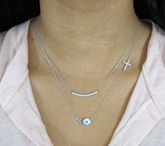 NEW Sideways Cross Necklace Mother of Pearl Evil by gemsinvogue, $34.00