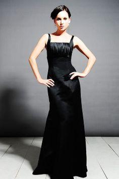 Straps sheath / colum satin bridesmaid dress