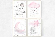 Moon and stars nursery pink nursery decor Dream Big Little Elephant Nursery Decor, Moon Nursery, Star Nursery, Nursery Prints, Nursery Wall Art, Girl Nursery, Dream Big, Art Rose, Pink And Gray Nursery