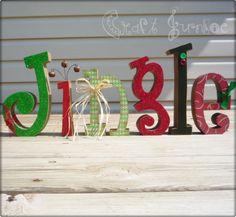 Glittery primitive JINGLE Chritmas letters with jingle bells. $35.99, via Etsy.