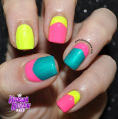 Nail art round up by Drama Queen Nails   Neon chevron half moons Orly - Beach cruiser Orly - Glowstick China Glaze - Turned up turquoise