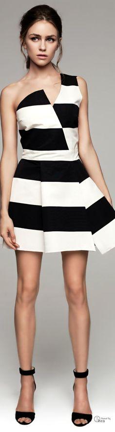 Asymmetric Black & White  Striped Dress  - Kalmanovich SS 2014