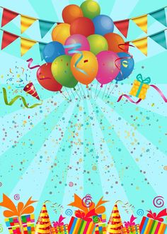 Birthday party poster background template Birthday Party Images, Happy Birthday Celebration, Birthday Cartoon, Happy Birthday Parties, Art Birthday, Birthday Design, Birthday Balloons, Happy Birthday Posters, Happy Birthday Frame