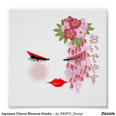 Shop Japanese Cherry Blossom Geisha Style Poster created by OKAYO_Design. Personalised Blankets, Corner Designs, Custom Posters, Nursery Wall Art, Geisha, Custom Clothes, Custom Framing, Cherry Blossom, Decorating Your Home