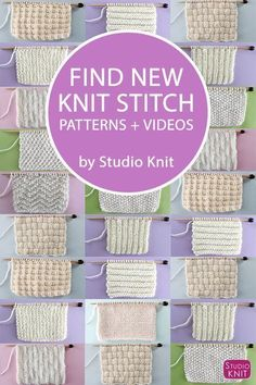 Find NEW Knit Stitch Patterns and Videos by Studio Knit for Beginning Knitters An entire collection of favorite Knit Stitch Patterns, with easy level patterns, intricate lace eyelet, brioche textures, cable stitches and more! Beginner Knitting Patterns, Knitting Basics, Dishcloth Knitting Patterns, Knitting Stiches, Knitting Charts, Knitting For Beginners, Easy Knitting, Loom Knitting, Knitting Projects