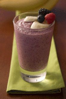 Banana Berry Smoothie...essentially I do this every morning with the fruit, almond milk, tsp of almond butter and my ARBONNE Protein Shake Mix.