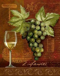 """Zinfandel"" by Thomas Wood - Wine glass & grapes Art - Vintage Typography… Decoupage Vintage, Decoupage Paper, Wine Label Art, Grape Kitchen Decor, Wine Painting, Wine Signs, Cafe Art, Wine Decor, Vintage Typography"