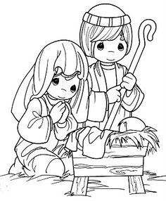 Here we have several coloring pages that show the nativity. Some show just Mary and baby Jesus - others show Joseph too and the manger and t...