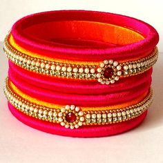 Trendy Silk Thread Bangles set Magenta and Yellow Combination 2 Large Bangles 4 Small Bangles With Stone and Bead Works Silk Thread Bangles Design, Silk Bangles, Silk Thread Earrings, Fabric Earrings, Thread Jewellery, Indian Bangles, Handmade Jewellery, Beaded Bracelet Patterns, Beaded Bracelets