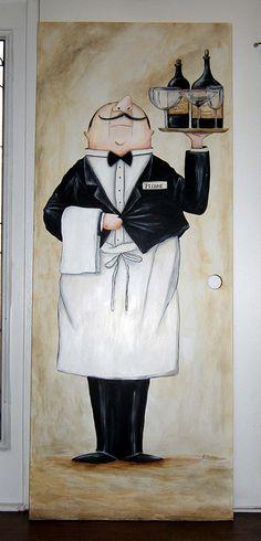 Pierre the Waiter - Mural Painted on Door