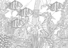Adult Coloring Page Seahorse and Fish. by ColoringPageExpress