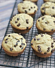 Skinny Banana Chocolate Chip Muffins are delicious and flavorful, while being light in fat and calories!