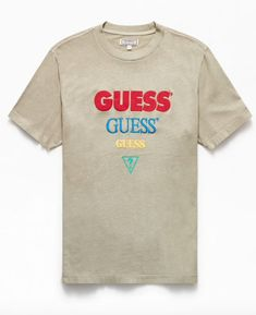 PacSun Exclusive! Make some room--fresh GUESS for the new season is here. This go-to tee has a soft cotton fabric and a reimagined brand graphic on the front. Pacsun, Cotton Fabric, Graphic Tees, Cute Outfits, Short Sleeves, Polo Shirts, Hoodies, Mens Tops, T Shirt