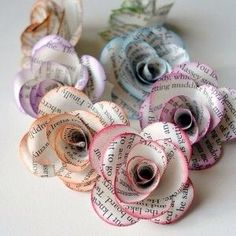 Flowers made from some magazines with some added color! #DIY