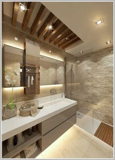 Modern Bathroom by Cct investments - cct 101 project in beylikduzu - - Wood Bathroom, Bathroom Renos, Master Bathroom, Bathroom Ideas, Bathroom Lighting, Bathroom Cabinets, Bathroom Vanities, Bathroom Designs, Bathroom Pink