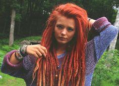 Whoa. Red-headed dreddie (dreadlocks). #dreadstop :: Shop Natural Hair Accessories at DreadStop.Com