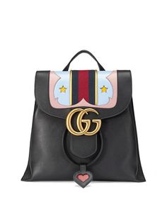 GG Marmont Leather Backpack, Black by Gucci at Neiman Marcus.