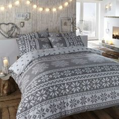Duvet cover in grey. Winter bedding in a warm flannelette quilt cover set with Nordic snowflake designs in white. - Home Decoz Winter Bedroom Decor, Winter Bedding, Cozy Bedroom, Scandinavian Bedroom, Bedroom Ideas, Master Bedroom, Bed Sets, Duvet Sets, Duvet Cover Sets