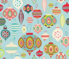 Christmas Ornaments fabric by Honeycomb Design Studio on Spoonflower - custom fabric and wrapping paper © 2014 Honey Brown