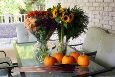 Pumpkin Flower Arrangement {Thanksgiving Centrepiece} - Life at Cloverhill Fall Floral Arrangements, Christmas Arrangements, Floral Centerpieces, Wedding Centerpieces, Centrepieces, Thanksgiving Flowers, Thanksgiving Centerpieces, Fall Flowers, Purple Flowers