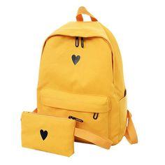 Shop & Buy Moon Wood Women's Backpack Canvas Printed Heart Yellow Backpack Korean Style Students Travel Bag Girl School Bag Laptop Backpack Online from Aalamey Backpack Travel Bag, Backpack Purse, Laptop Backpack, Fashion Backpack, Laptop Bags, Cute Backpacks, Girl Backpacks, School Backpacks, Fashion Handbags