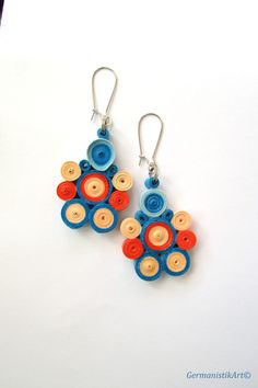 Orange Blue Quilled Paper Earrings Dangle by GermanistikArt