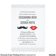 """Mustache & Lips Wedding Invite 5"""" X 7"""" Invitation Card"""