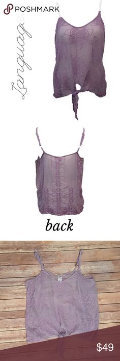 """Anthropologie Language Silk Medium Lavender Purple Language Silk Medium Top Sheer Lavender Purple Spaghetti Strap Sleeveless   ▫️Bust 17""""  ▫️No stains ▫️No holes  🛍For the best deal, I offer a bundle discount! Please check out my closet for other fabulous items!🛍 Anthropologie Tops"""