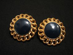 9f594cd366f4f7 BIG Vintage Monet Round Gold Tone and Navy Blue by JewelryStash Monet  Jewelry, Pierced Earrings