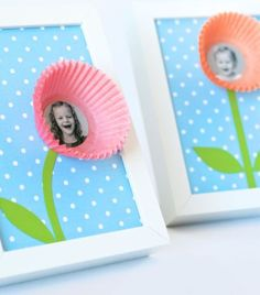 Cupcake Liner Smile Blossoms | Click Pic for 20 DIY Mothers Day Craft Ideas for Kids to Make | Homemade Mothers Day Crafts for Toddlers to Make: