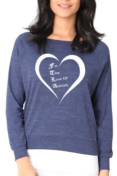 New FTLA Apparel Eco Friendly Off the Shoulder/Wide Neck Pullover Raglan Made in the USA - For The Love Of Animals