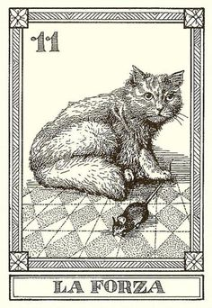 "Strength - Tarot ""Gatti Il Meneghello"", by Osvaldo Menegazzi. The deck of 22 tarot cards published in Italy in Justice Tarot, Strength Tarot, Tarot Tattoo, Fortune Telling Cards, Tarot Major Arcana, Oracle Tarot, Tarot Decks, Cat Art, Animals And Pets"