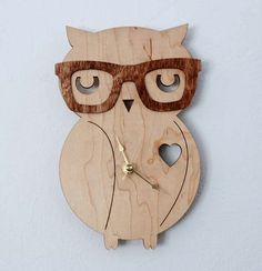 Nerd Owl Clock Handmade laser cut by UnpossibleCuts on Etsy... Tori needs this!!