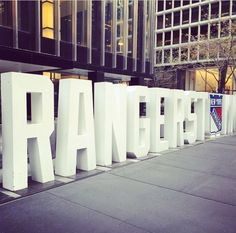 nyrangersThe letters are back for the Playoffs! Come see them today outside Chase on Park btw 47 and Rangers Hockey, Hockey Teams, Madison Square Garden, National Hockey League, New York Rangers, The Expanse, Awesome, Letters, Park