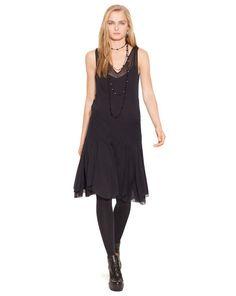 Sheer Crepe V-Neck Dress - Polo Ralph Lauren Short Dresses - RalphLauren.com