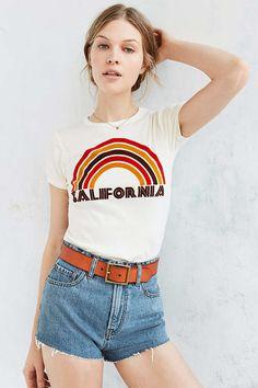 California Flocked Rainbow Tee - Urban Outfitters