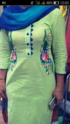 @appu Salwar Neck Designs, Neck Designs For Suits, Kurta Neck Design, Neckline Designs, Dress Neck Designs, Kurta Designs Women, Blouse Designs, Embroidery Suits Punjabi, Kurti Embroidery Design
