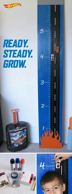 This is vute for a boy's room. Track the growth of your Hot Wheels kids with a racer's take on a DIY growth chart. It looks totally amazing but is so simple to make. Learn how to make one yourself with step-by-step instructions here. Baby Room Diy, Baby Boy Rooms, Diy Baby, Boy Car Room, Chambre Hotwheels, Hot Wheels Bedroom, Kids Decor, Decor Ideas, Kids Bedroom