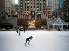 Ice skating in Rockefeller Center. A tradition in New York City for the holidays.
