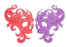 Embroidered Swirl Skull Motif / Patch / Badge / Applique -Lots of Colour Choices