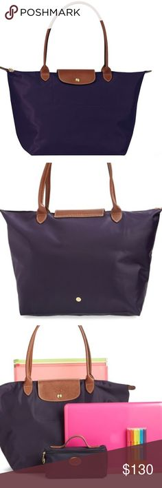 """Brand new Longchamp le Pliage large in bilberry Brand new never used beautiful Longchamp Le Pliage large size in bilberry. One of the classic color. Perfect for everyday use! Dimensions: 12 ¼""""W x 11 ¾""""H x 7 ½""""D. (Interior capacity: large.) 9"""" strap drop. Longchamp Bags Totes"""