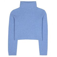 The Row Nenette Wool and Cashmere-Blend Cropped Sweater ($369) ❤ liked on Polyvore featuring tops, sweaters, jumpers, shirts, blue jumper, woolen sweater, wool jumper, crop top and shirt crop top