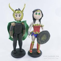 Loki and Wonder Woman wedding cake topper Customizable