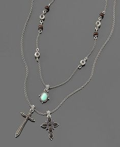 Lucky Brand Necklace, Double Cross - Fashion Necklaces - Jewelry & Watches - Macy's